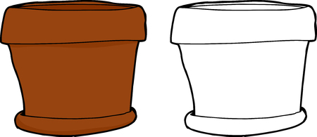 Hand drawn cartoon of empty houseplant pot 向量圖像