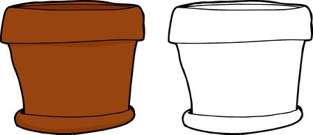 hand drawn cartoon: Mano dibujo animado hecho de olla vac�a planta de interior Vectores