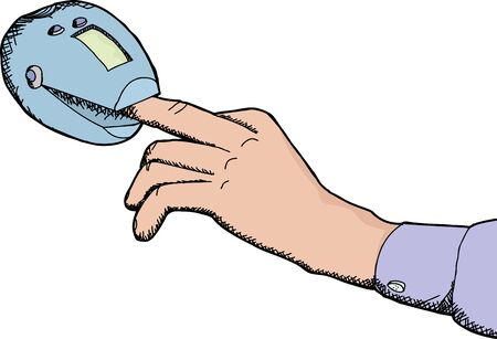 Cartoon of finger inside heart rate monitor device