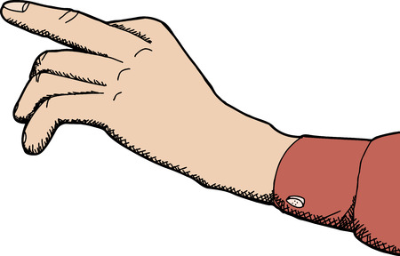Cartoon hand with index finger pointing over white