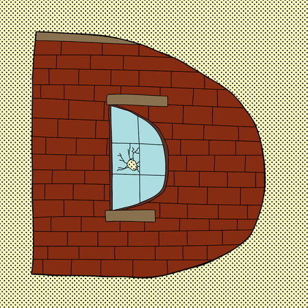Cartoon letter D icon in the shape of a warehouse