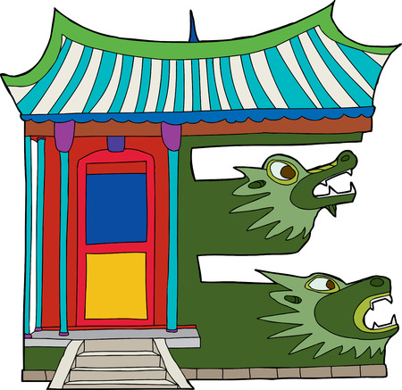 Traditional Asian building in the shape of the letter E Vector