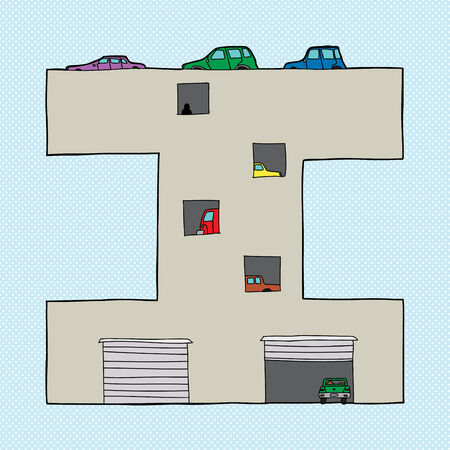 parking garage: Crowded car parking garage in the shape of the letter I