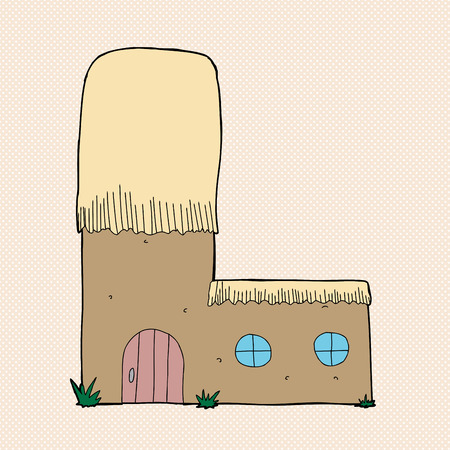 thatched roof: Cute mud hut with thatched roof as letter L