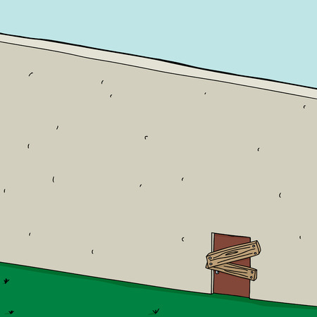boarded: Boarded up door in concrete wall background cartoon