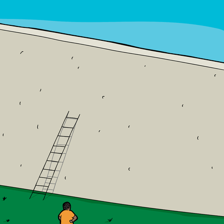 Frustrated man in front of wall with short ladder Vector