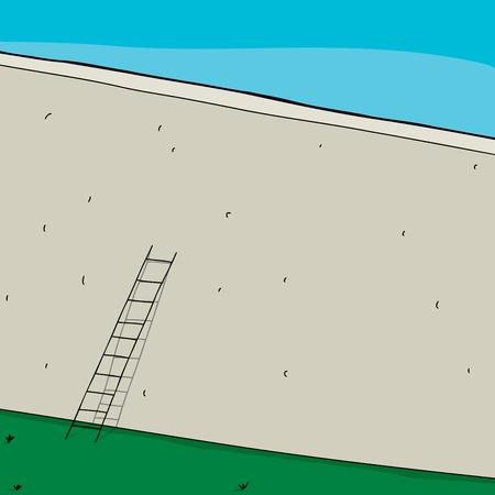 背景の背の高い壁にもたれて短い梯子  イラスト・ベクター素材