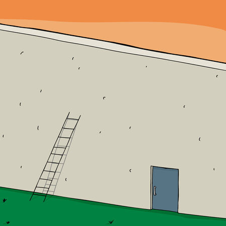 Short ladder and closed door in blank wall Vector