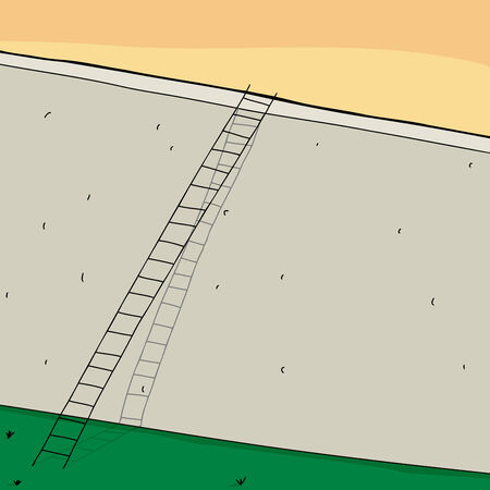 Long ladder over tall concrete wall cartoon Vector