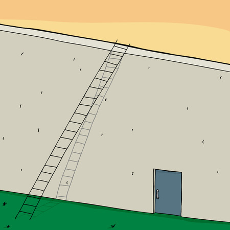 comparing: Long ladder on wall with closed door Illustration