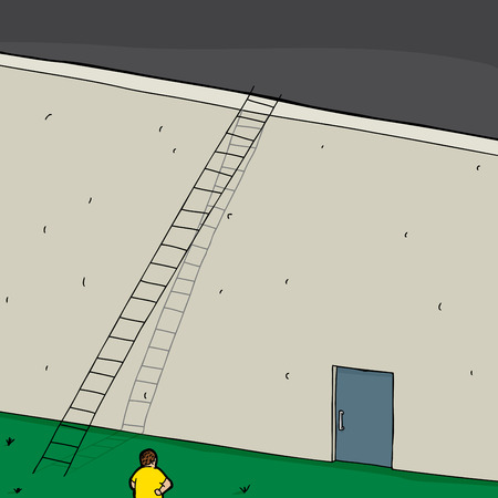 Single man facing long ladder and door in wall Vector