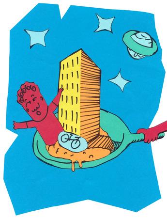 Cut paper illustration of scared man in frying pan Banco de Imagens