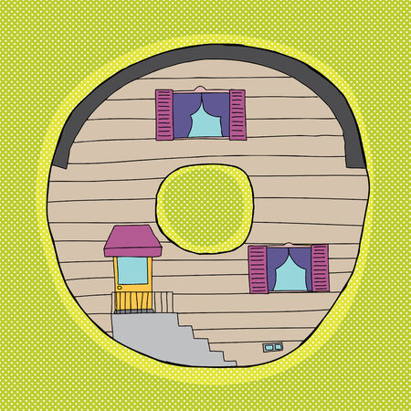 House as the letter o on green halftone background