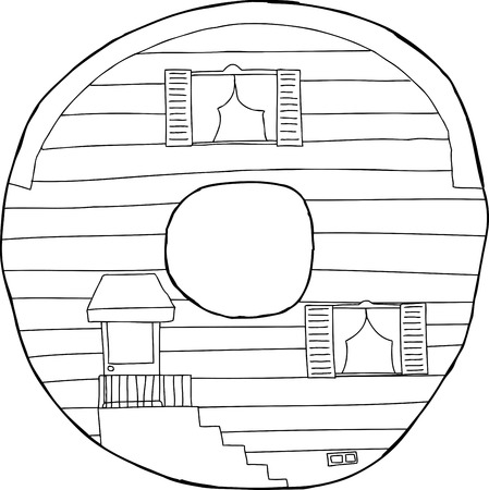 siding: Outlined black letter O in the shape of a house Illustration