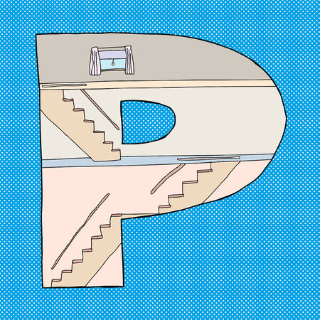 p buildings: Letter P as cross-section home over blue background Illustration