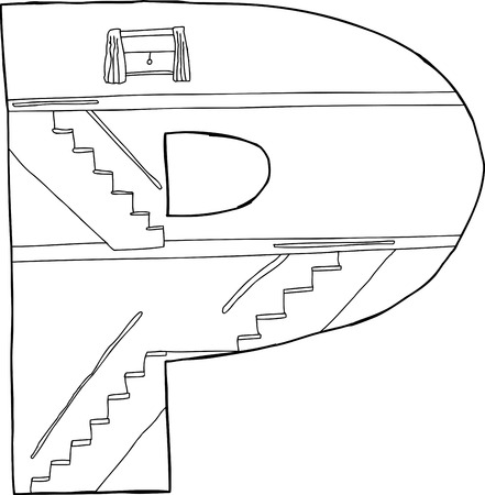 Letter P in the shape of three floors in a home