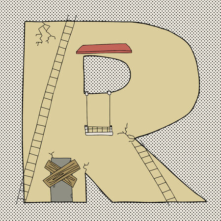 Hand drawn cartoon of letter R as damaged building Иллюстрация