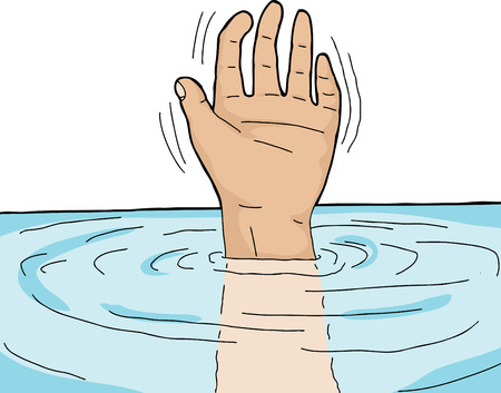 Symbol of danger with human waving from under water