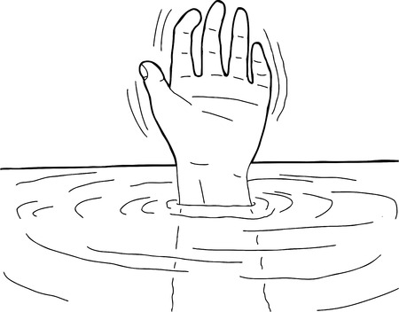 Black outline cartoon of hand waving from water