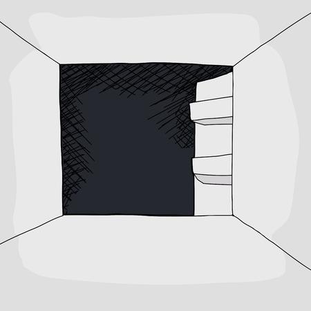 ドアを開けてと空の冷蔵庫の漫画  イラスト・ベクター素材