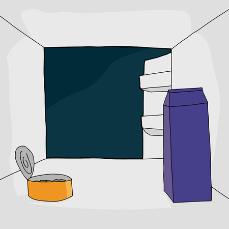 refrigerator with food: Cartoon open refrigerator with canned food and milk carton