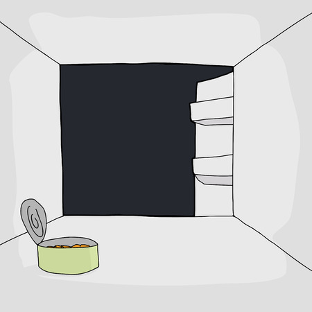 refrigerator with food: Hand drawn refrigerator with one open can of food Illustration