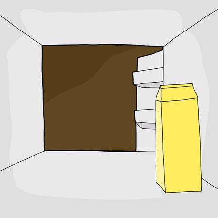 starving: One open cartoon refrigerator with carton of milk