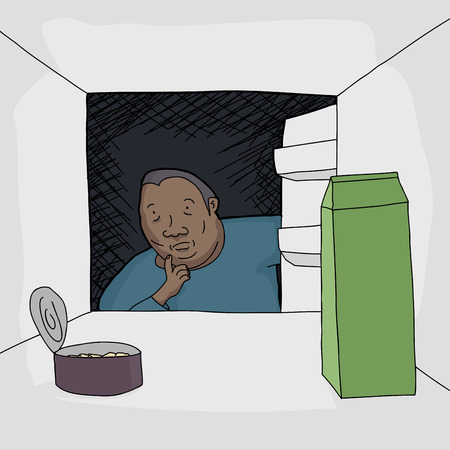 refrigerator with food: Worried Black man looking at food in open refrigerator Illustration