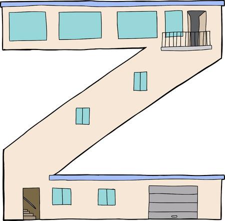 Isolé lettre Z comme maison contemporaine avec garage et balcon Banque d'images - 30822273