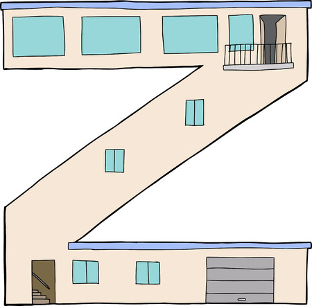 Isolated letter Z as contemporary house with garage and balcony