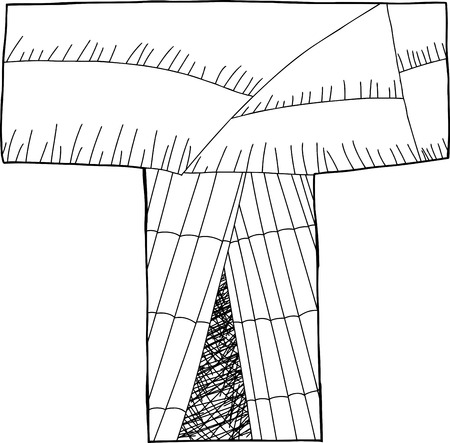 wigwam: Letter T as wigwam in black outline Illustration