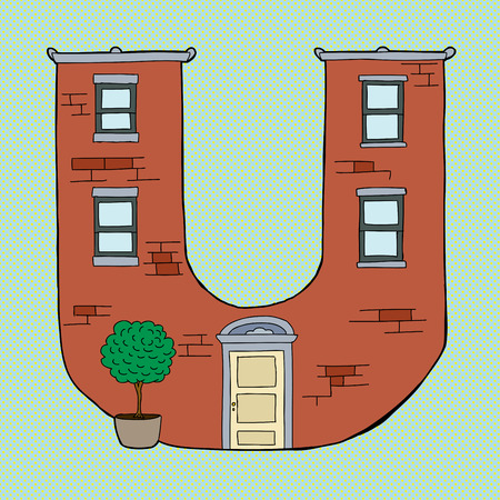 letter u: Brick apartment building in shape of letter U