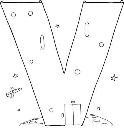 Letter V as outer space base outlined in black Ilustração