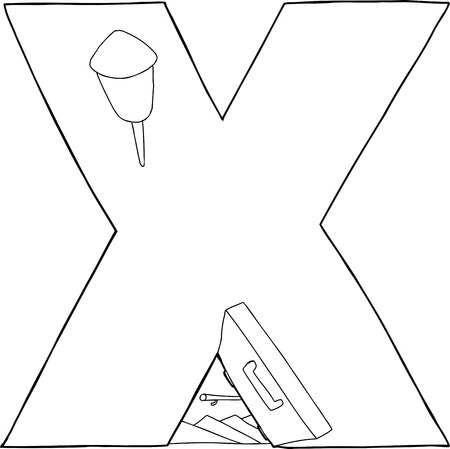 Outlined bomb shelter in the shape of the letter X Vector