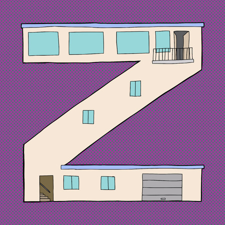 Letter Z as contemporary house with garage and balcony