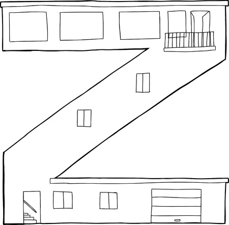 patio deck: Outlined letter Z as contemporary house with garage and balcony Illustration