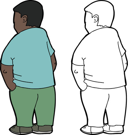 one isolated: Rear view of one isolated Hispanic male youth Illustration