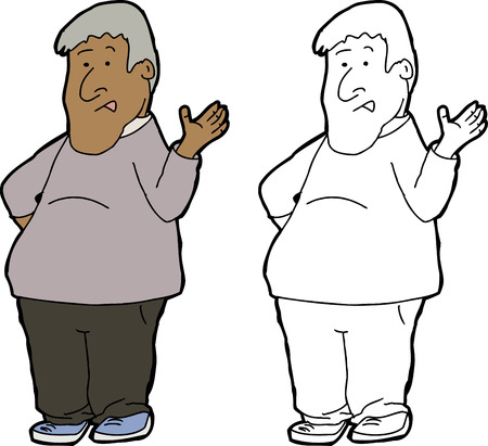 Cartoon of mature man talking and gesturing with hands