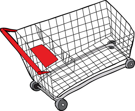 drawn metal: One isolated hand drawn metal shopping cart Illustration