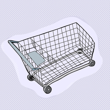 drawn metal: Single hand drawn metal shopping cart over blue Illustration