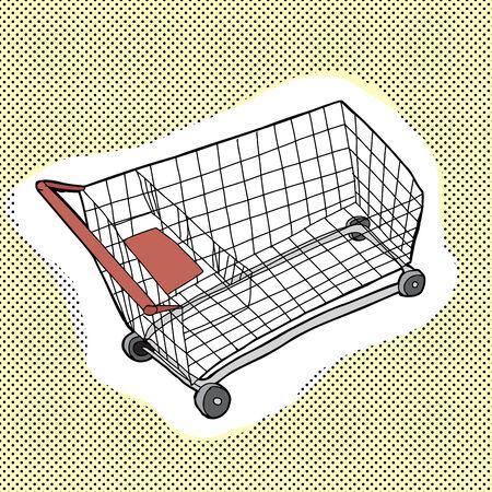 hand cart: Con una sola mano metal de la historieta dibujada carrito de la compra
