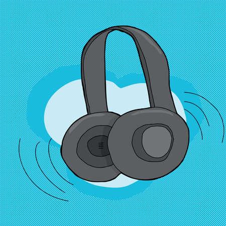 Pair of cartoon headphones over blue background