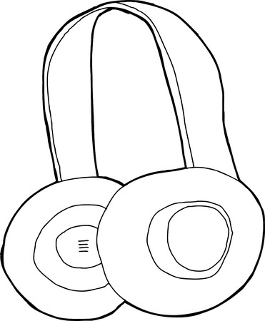 Single pair of black outline cartoon headphones Stock fotó - 30931787