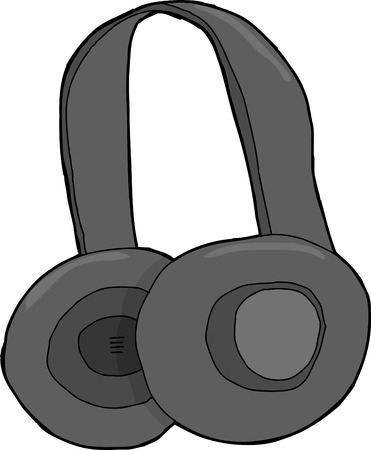 Pair of cartoon headphones over isolated background