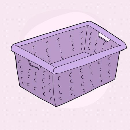 1 つの漫画は紫色の背景でランドリー バスケットを落書き