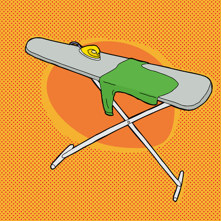 Cartoon ironing board with steam iron and shirt