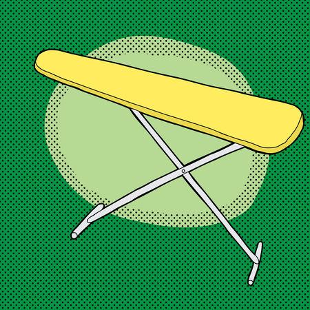 Cartoon gele strijkplank over groene halftoon