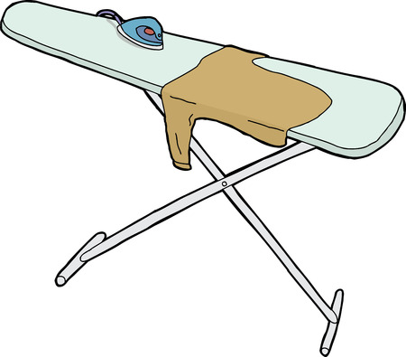 Isolated ironing board with steam iron and shirt