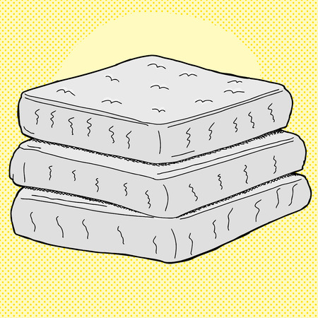 Stack of cartoon mattresses over yellow halftone background
