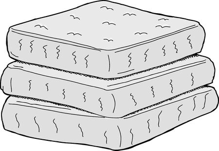 mattress: Isolated stack of cartoon mattresses on white background Illustration